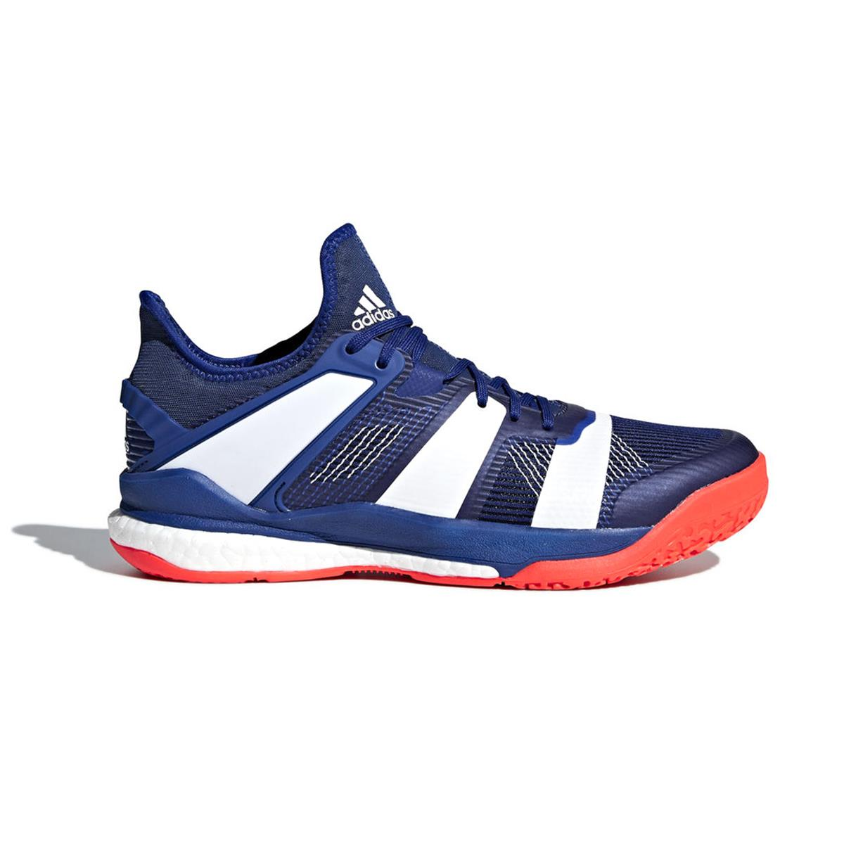 12fbec07168 adidas Stabil X Court Shoes (Blue-Orange)