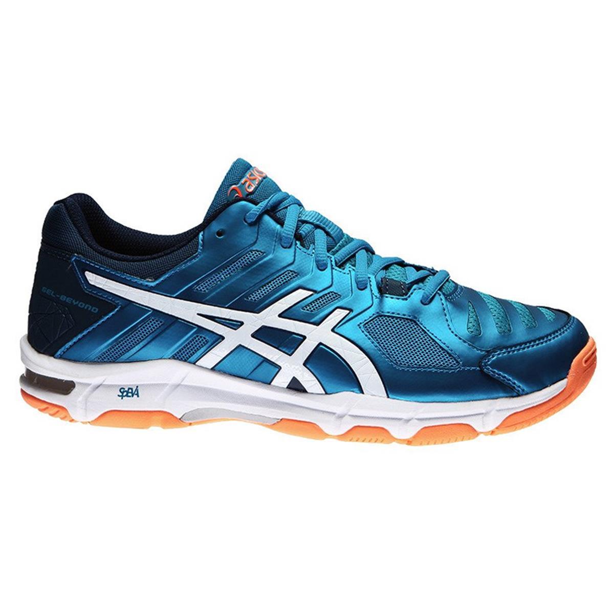 8caf0217729 Asics Gel Beyond 5 Mens Court Shoes (Blue Jewel-White-Hot Orange ...