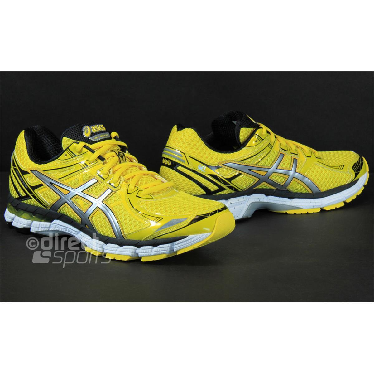asics gt 2000 asics mens running shoes black white yellow