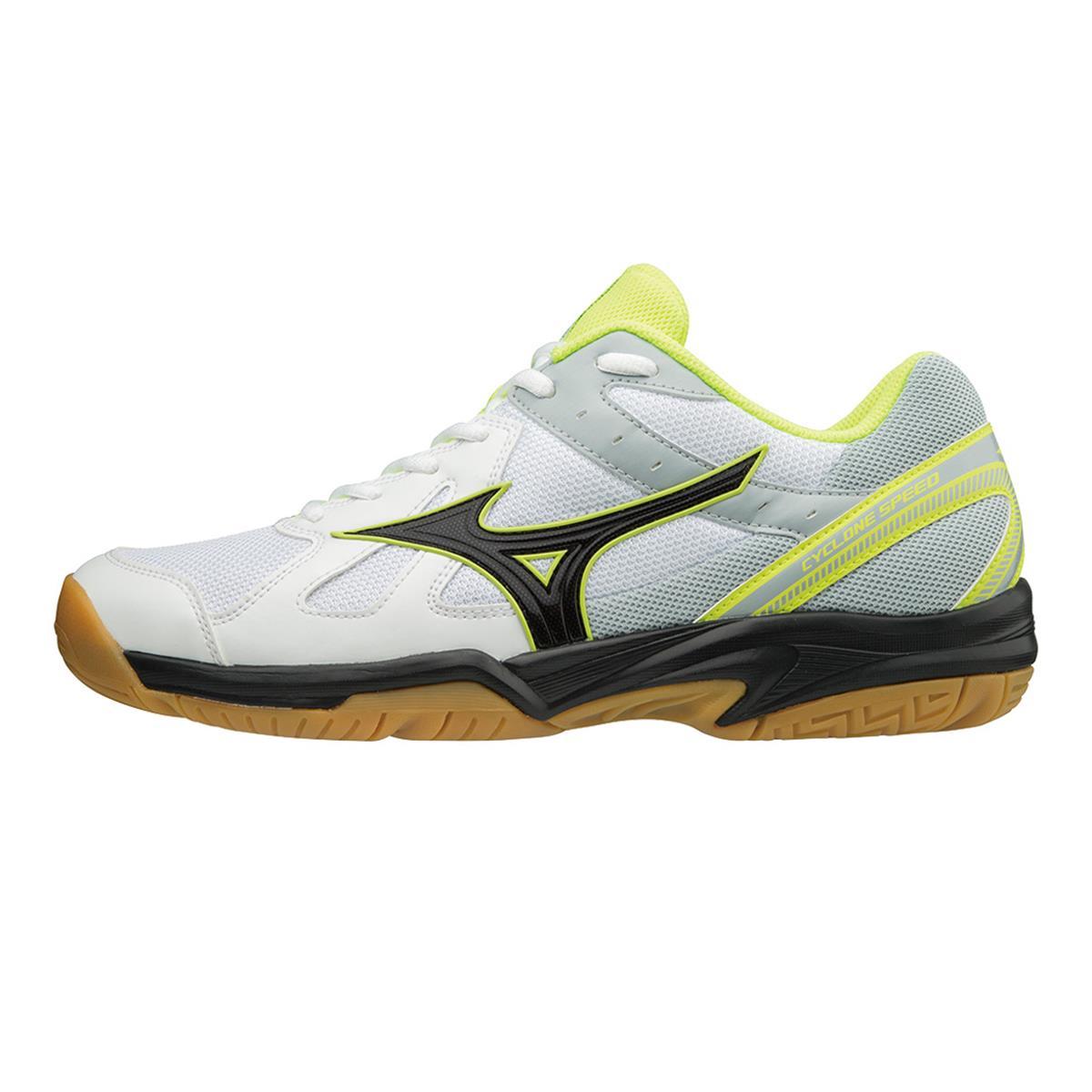 b290e5b90f9f Mizuno Cyclone Speed Mens Court Shoes (White-Black-Safety Yellow ...