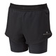 Ronhill Stride Womens Twin Shorts (Black-Charcoal Marl)