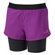 Ronhill Stride Womens Twin Shorts (Grape-Charcoal Marl)