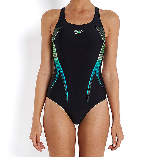 Speedo Activeturn Placement Powerback Womens Swimsuit (Black Green) | directsportsEshop.co.uk
