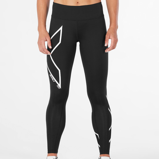 2XU Ice X Womens Mid Rise Compression Tights (Black-Metallic White)
