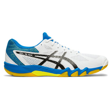 yellow asics squash shoes